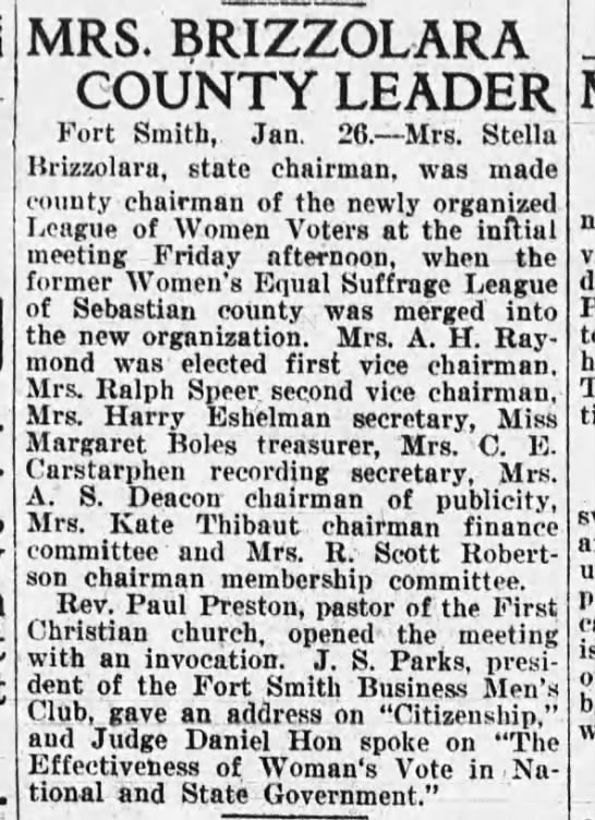 Stella Brizzolara - MRS. T3RIZZOL AR A COUNTY LEADER Fort Smith,...