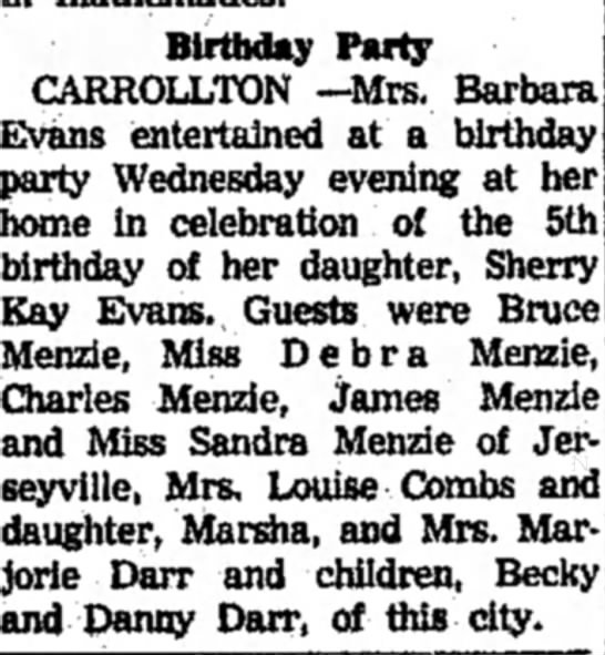 Charles Menzie III's children at party in Jerseyville - Birthday Party CARROLLTON —Mrs. Barbara Evans...
