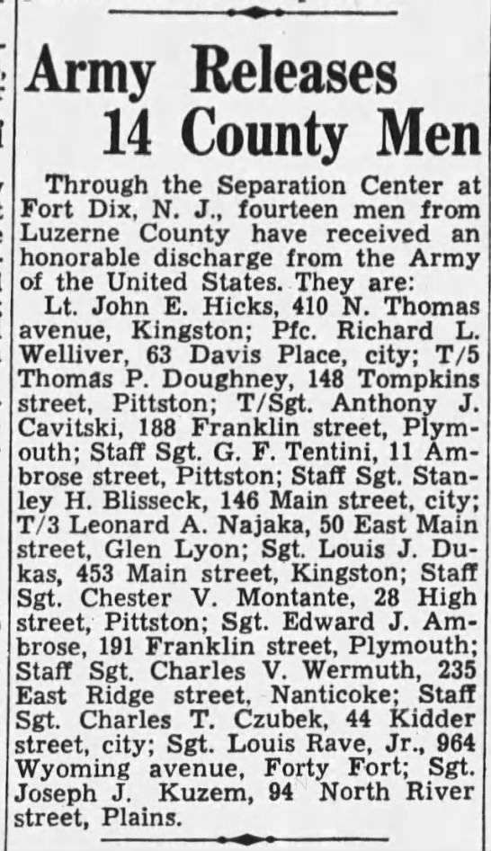 Dad Released from Army 1945 - Army Releases 14 County Men Through the...