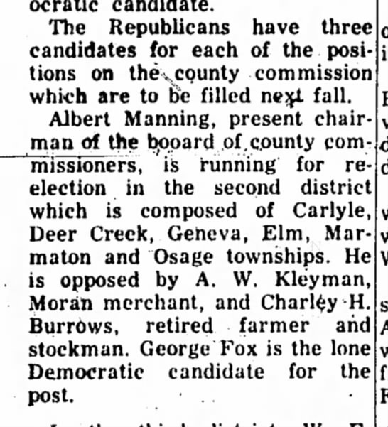 A.W. Kleyman - Race for County Commissioner 1956 - The Republicans have three candidates for each...