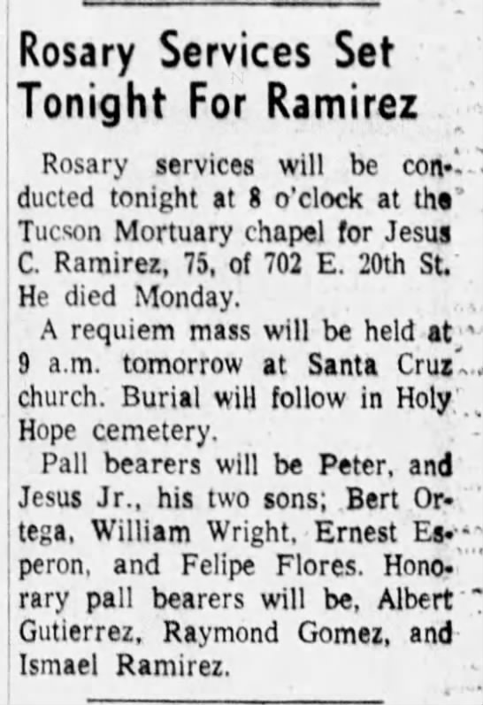 Jesus Ramirez Obiturary - Rosary Services Set Tonight For Ramirez ;...