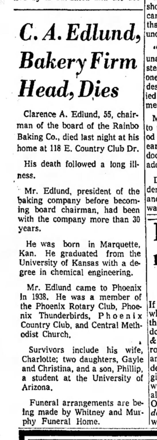 Clarence Edlund obituary 1959 - C. A. Edlund) Bakery Firm Head) Dies Clarence...