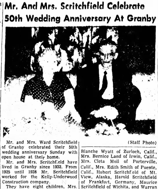 ward scritch - Mr, And Mrs. Seritehfield Celebrate .*,...,,. *...