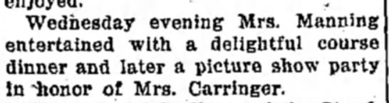 "Mrs M F Manning - Wednegd evening Mrs . Manning . ."". . * "" L, lf..."