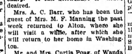 Mrs M F Manning - desired. Mrs. A, C. Barr, who has been the...
