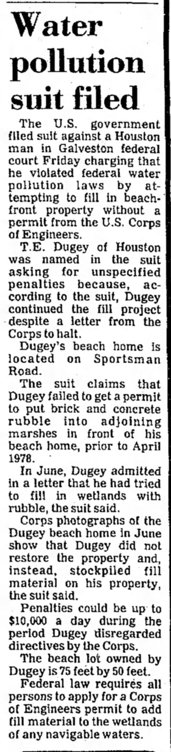 Lawsuit, T.E. Duguy, 12/15/1979 - Water pollution suit filed The U.S. government...
