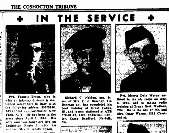 In the Service - Francis Tyson, The Coshocton Tribune, Sunday, 21 Jan 1945, p. 4