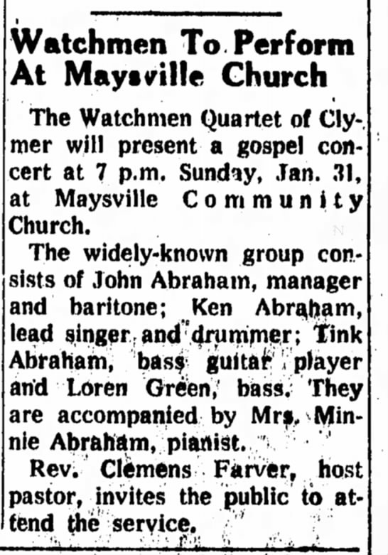 Maysville PA Jan 18 1973 - Watchmen To. Perform At Mayttrille Church The...