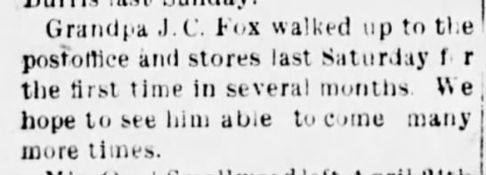 Jesse Fox news clipping. He was 89 at the time.
