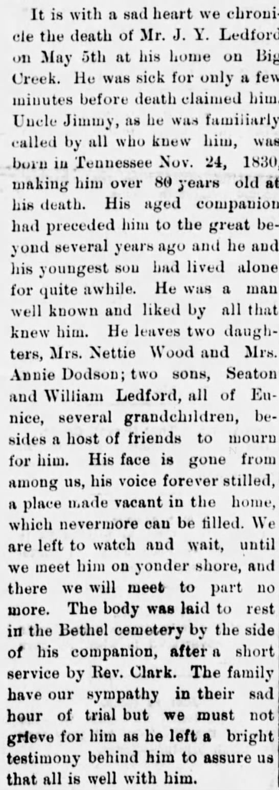 James Y Ledford Obituary May 1911 - It is with a sad heart we chronicle chronicle...