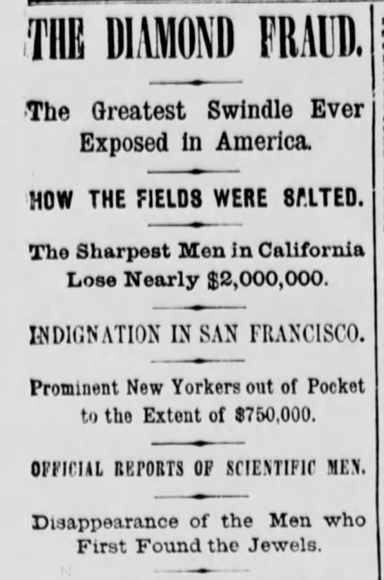 Headlines about the Diamond Hoax - HE DIAMOND FRAUD. .The Greatest Swindle Ever...