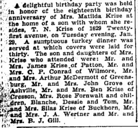 Krise, Matilda E Trexler, wife of Thomas John Krise - A. delightful birthday party was hel in honor...