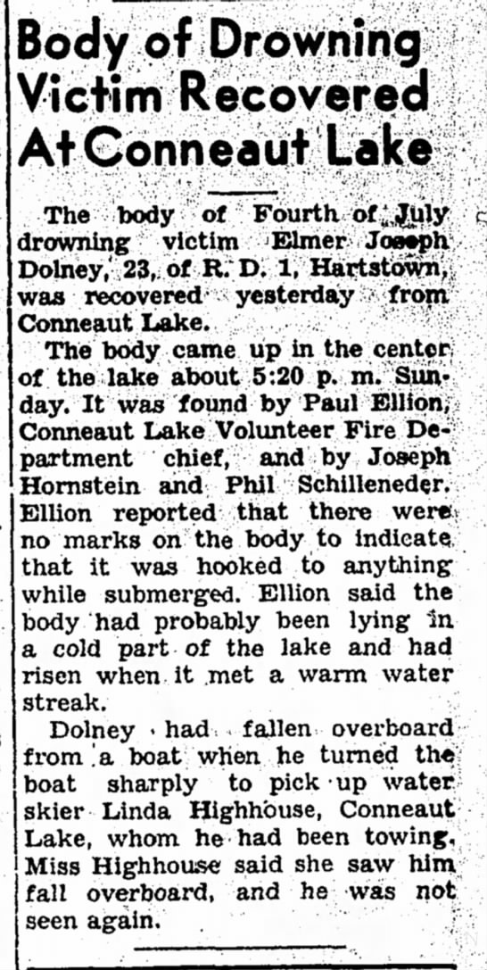 Record Argus 7/21/1958 Paul Ellison - Body of Drowning Victim Recovered At Conneaut...