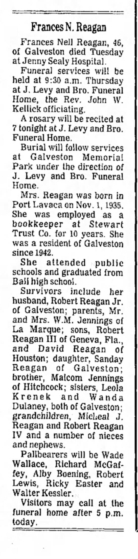 - Frances N. Reagan Frances Nell Reagan, 46, of...