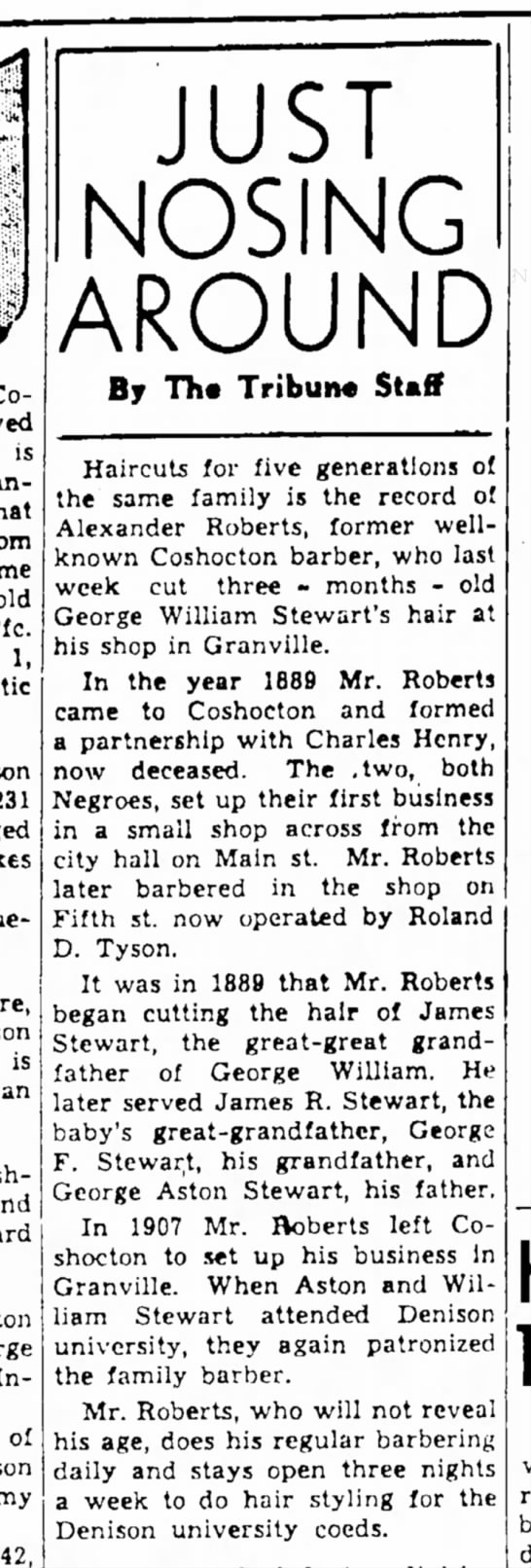 Barber record - The Coshocton Tribune, Tuesday, 9 Oct 1945, p. 8 - is Mindanao that from same Pfc. 1, son 4. Hue-...