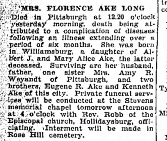 Obituary for Florance Ake - Amy's sister