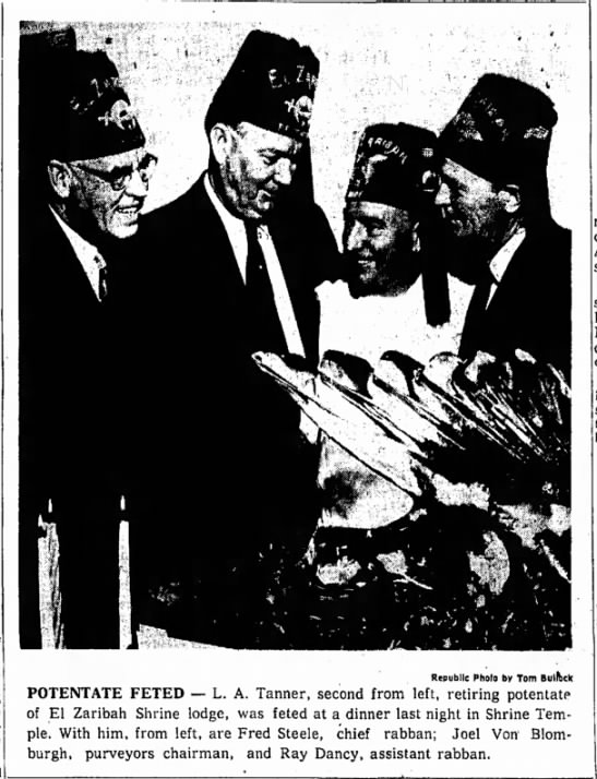 Grandfather, Raymond Hoover Dancy, at far right. - Republic Pholo by Tom Bulfhck POTENTATE FETED —...