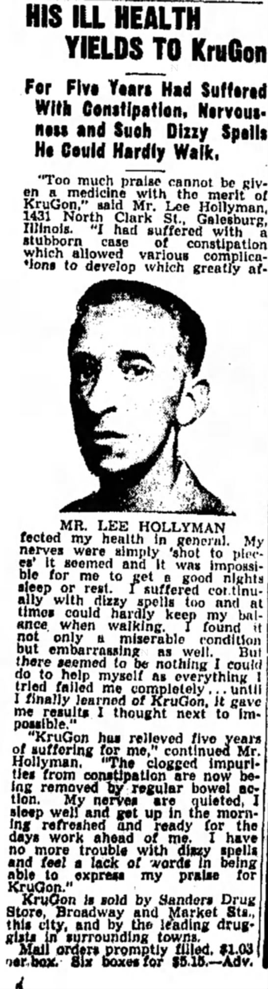 Lee Hollyman testifies to wonders of KruGon's medical powers. - HIS ILL HEALTH YIELDS TO KruGon For Five...