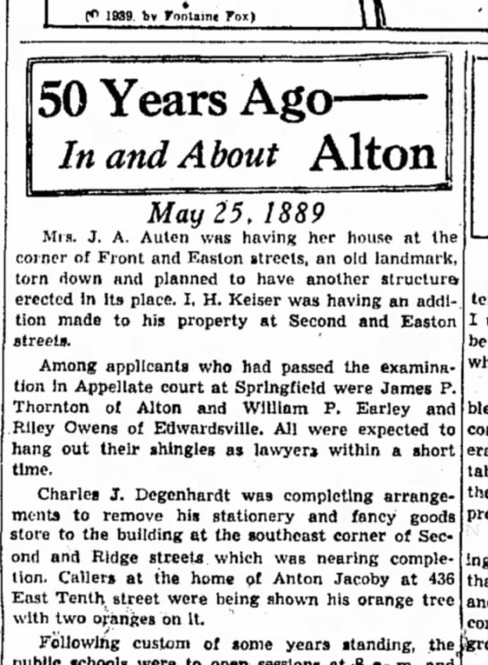 Anton Jacoby orange tree - 50 Years Ag< In and About Alton May 25, 1889...