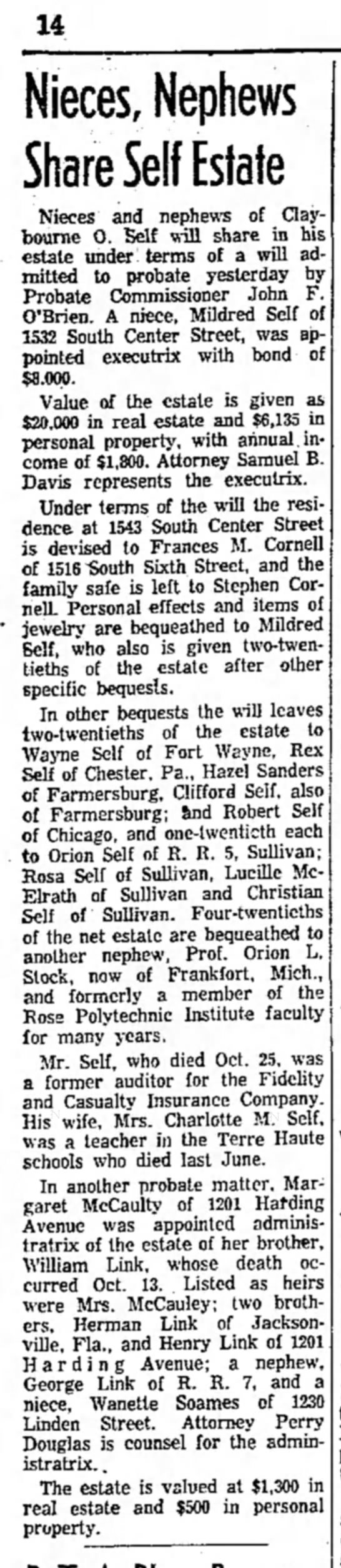 Nieces and Nephews share Self estate, Terre Haute Star, 30 October 1957, page 14 column1. - 14 Nieces, Nephews Share Self Estate Nieces and...