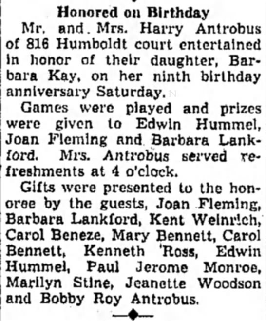 Barbara Kay Antrobus's ninth birthday party - Honored on Birthday Mr. and. Mrs. Harry...