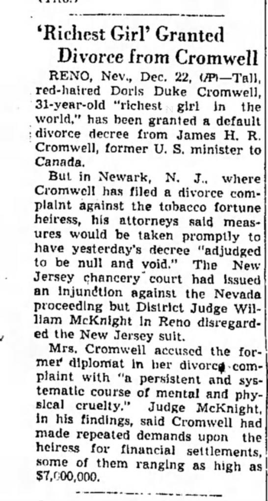 ALTON ILL HEIRESS DIVORCE DEC 22 1943 - 'Richest Girl' Granted Divorce from Cromwell...