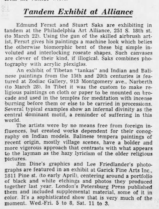 Art Alliance Ed Ferzt Jim Dine + Friedlander @ Garrick Fine Art - Tandem Exhibit at Alliance Edmund Ferszt and...