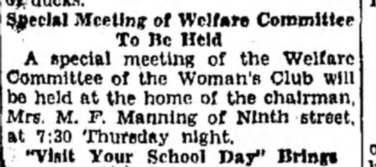 Mrs M F Manning - !&ecl»I Meeting of Welfare Committee To Be Held...