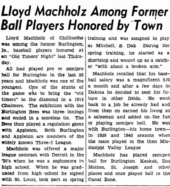 - Lloyd Machholz Among Ball Players Honored by...
