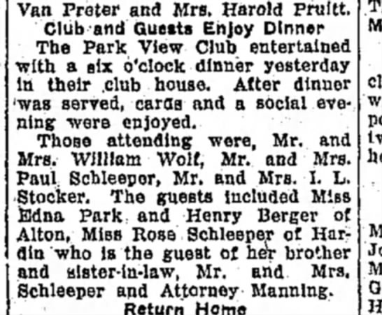 F Manning - Van Preter and Mrs. Harold Pttiltt. Club and...