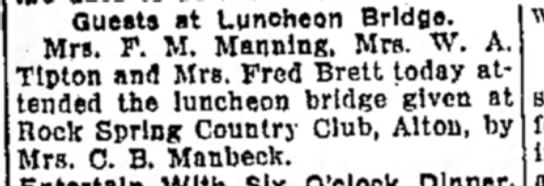 Mrs M F Manning - Guests at Luncheon Bridge. Mrs. F. M. Manning,...