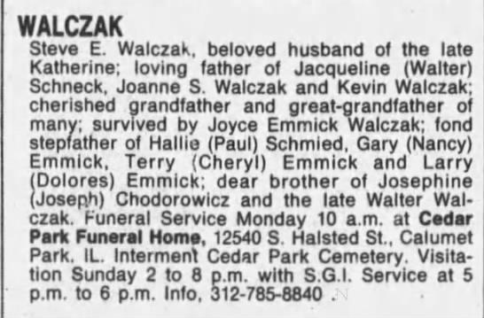 obit, Steve E Walczak - WALCZAK Steve E. Walczak, beloved husband of...