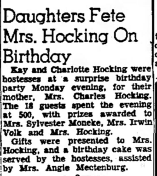 Daughters Fete Mrs. Hocking on Birthday - Doughters Fete Mrs. Hocking On Birthday Kay and...