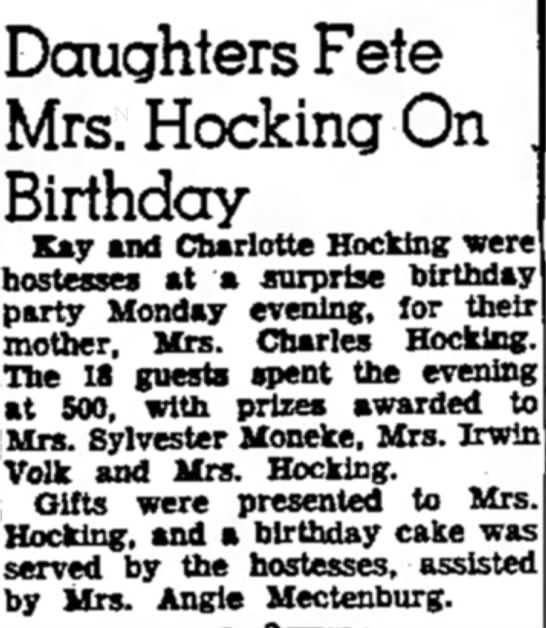 Birthday party for Hilda Hocking - Doughters Fete Mrs. Hocking On Birthday Kay and...