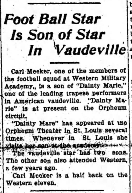 Carl Meeker Football Star - Foot Ball Star Is Son of Star In Vaudeville...