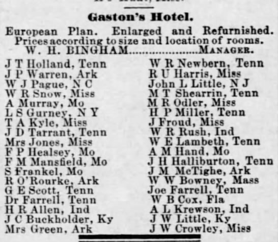 Pague, W J, - arrival at Gaston's Hotel - Uaston's Hotel. European Plan. Enlarged and...