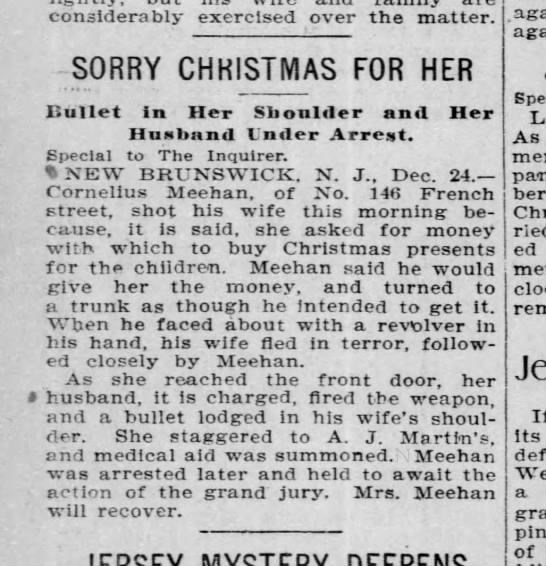 Cornelius Meehan New Brunswick NJ Shot his wife.  Dec 24, 1896 - considerably exercised over the matter. SORRY...
