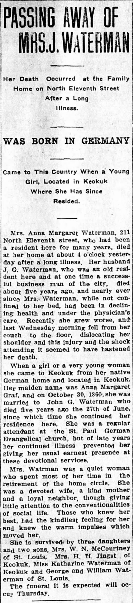 Obituary: Waterman, Anna Margaret (nee Graf) d. 1914 - PASSING AWAY OF Her Death Occurred at the...
