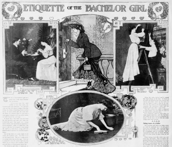 1903 feature article about the bachelor girl lifestyle