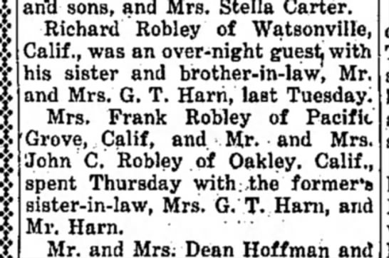 "Richard, Mrs. Frank, John C. Robley visit-Moravia Union, Iowa-p.4-17 Oct 1940 - an""d sons, and Mrs. Stella Carter. Richard..."
