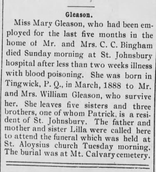 Mary Gleason - Gleason. Miss Mary Gleason, who had been em...