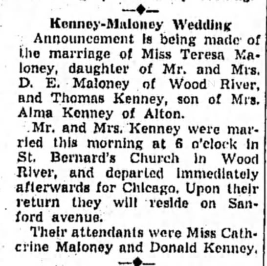 Kenney-Maloney Wedding 22 Sep 1941 - Keiuiey-Mnlonoy Wedding Announcement Is being...
