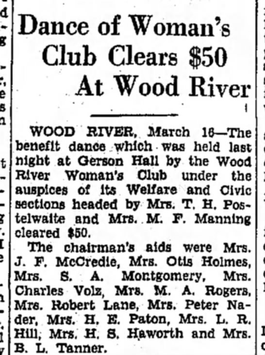 Mrs M F Manning - Dance of Woman's Club Clears At Wood River WOOD...