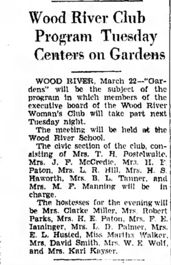 Mrs M F Manning - Wood River Club Program Tuesday Centers on...