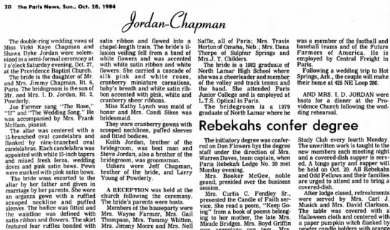 Jordan Chapman wedding - 2D The Parts Newi, Sun., Oct. 28, 1984...