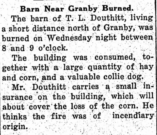 T L Douthitt barn burns