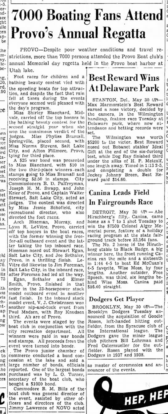 The Salt Lake Tribune (Salt Lake City, Utah) May 31 1944 page 17 - 4-o. appeared be the belated — 70. in 75 a to...