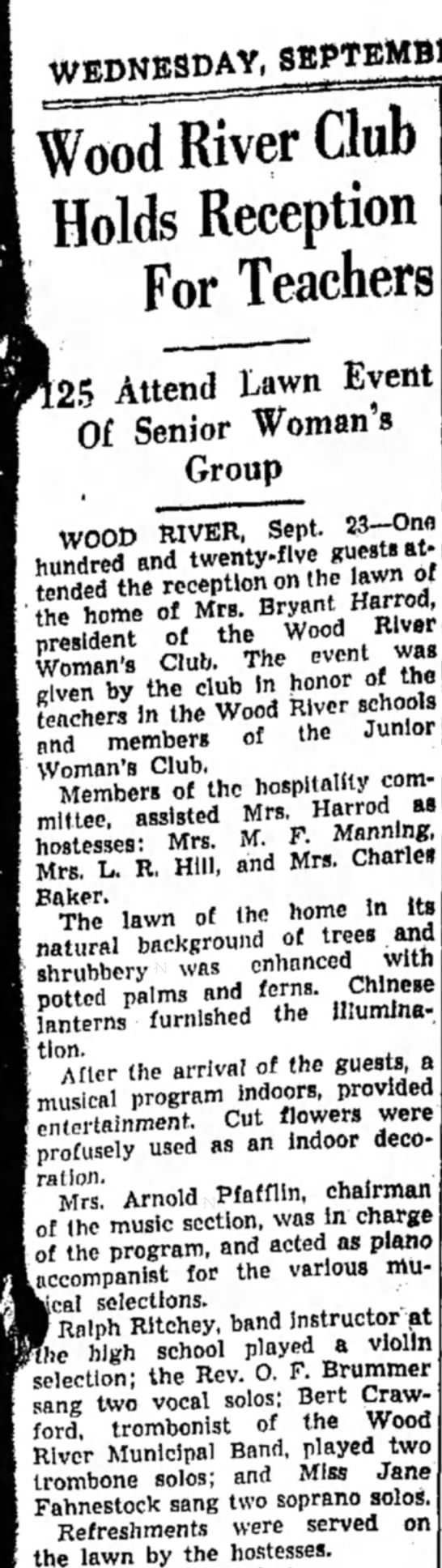 Mrs M F Manning - Wood River Club Holds Recepton For Teacher) [25...