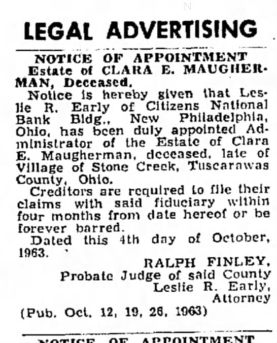 Clara Maugherman - LEGAL ADVERTISING NOTICE OF APPOINTMENT Estate...