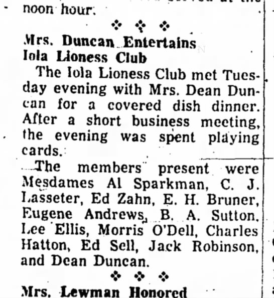 Mrs Dean Duncan - Lioness Club - noon hour • •:• Mrs. Duncan Entertains Inia...